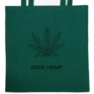 HGG1003-02 hemp go green tote bag with black hemp-leaf design